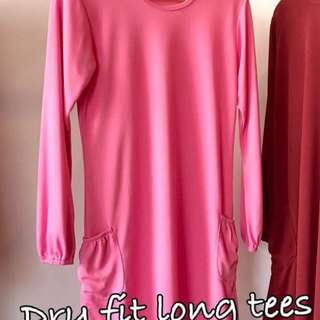 Dry Fit Long Tee with side pockets in Baby Pink size S