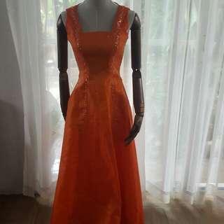 Orange Beaded Gown