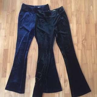 Velvet bell bottom/pants