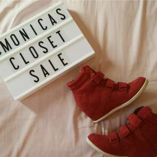 Red Sneaker-Wedge Shoes