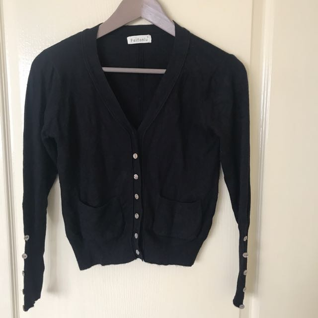 黑色針織外套65%棉有兩個口袋(少穿極新)
