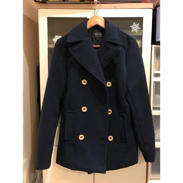 9成新 學院風 大衣 風衣 深藍色 雙排扣