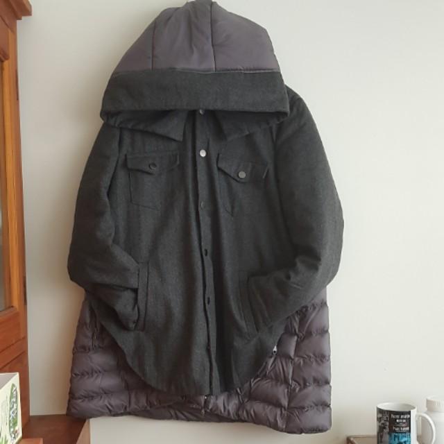 【超特別】羊毛羽絨異質面料深灰色外套