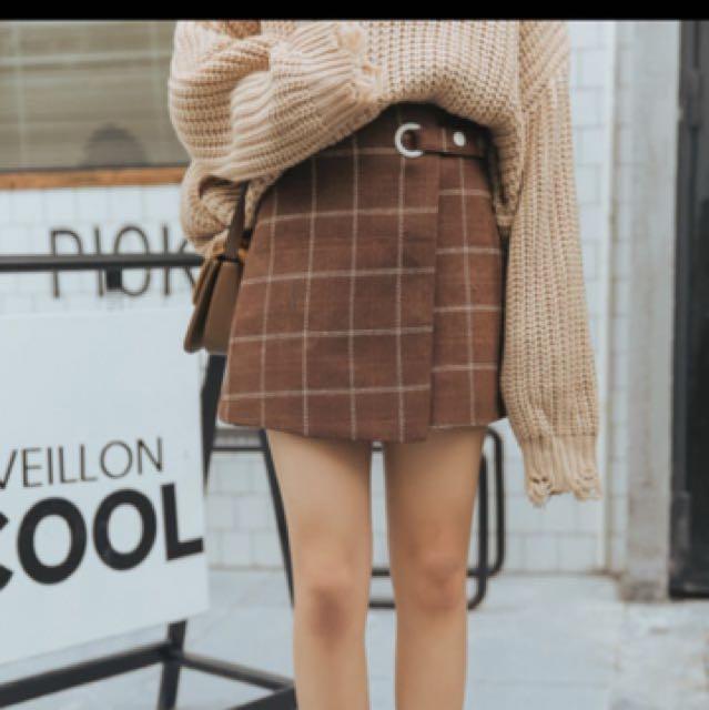 秋冬格紋高腰設計款短裙