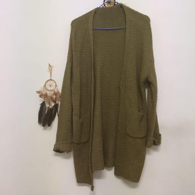 墨綠針織外套罩衫大衣