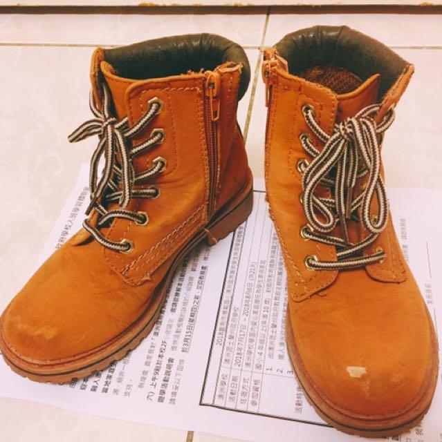 二手駝色高筒靴防水雪靴(中性款男女童可穿
