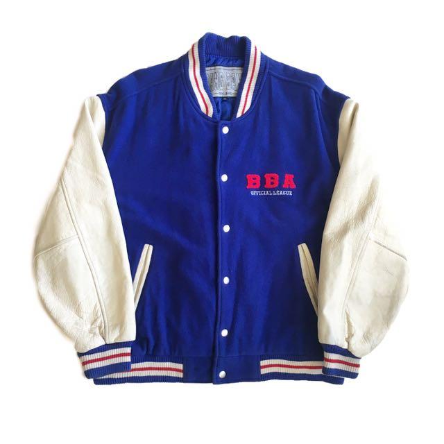 顛復古⚡️復古靛藍色街頭牛皮拼接袖古著棒球外套❤️男女皆可