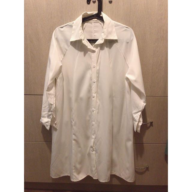 白色 長版雪紡襯衫