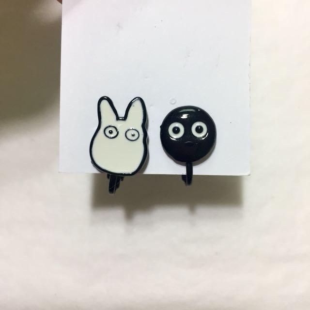 龍貓系列 煤炭蟲 耳夾式耳環