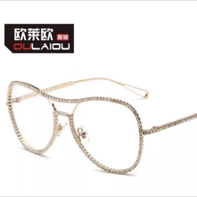 金色 全新 網紅平光鏡 男女文藝眼鏡架 鑲鑽平光鏡框