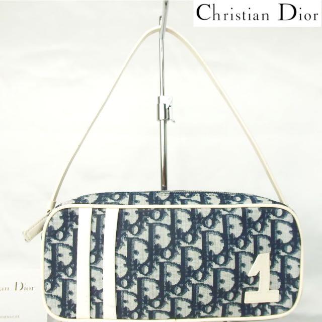 正品 Christian Dior CD 緹花帆布 藍色牛皮滾邊 手提包