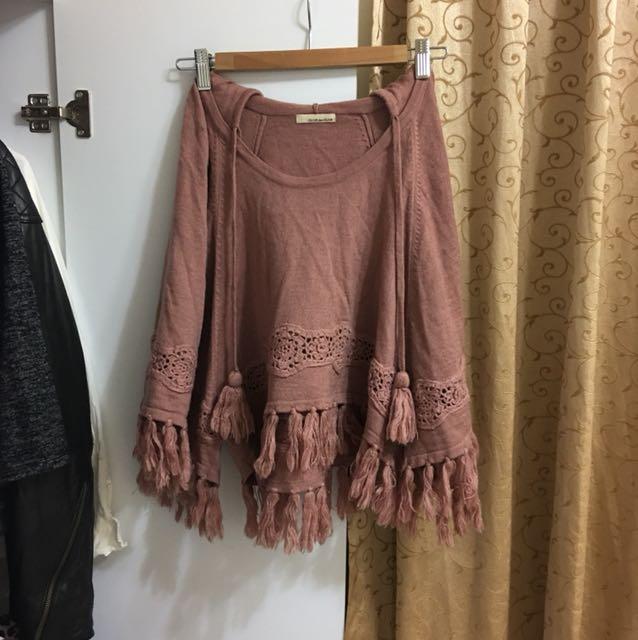 日本 OLIVE des OLIVE 針織毛線斗篷上衣 連帽罩衫