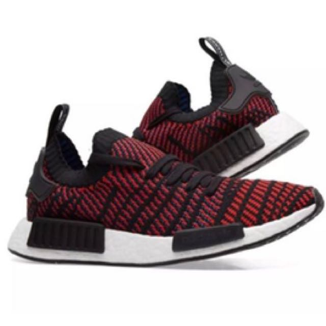 9a6dca808 Adidas NMD R1 STLT Primeknit Core Black   Red Solid