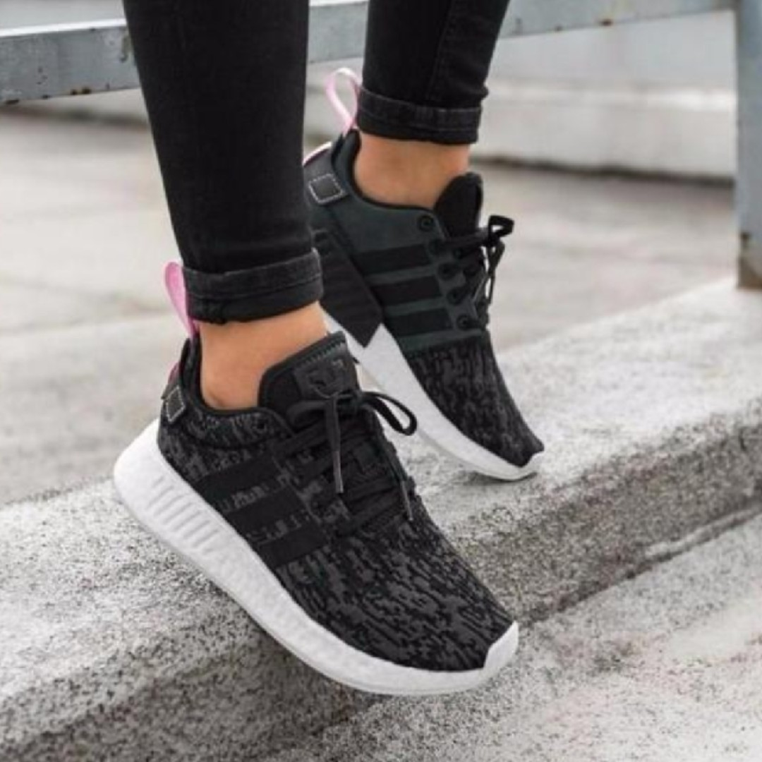 separation shoes release info on amazing price UK4.5 Adidas Womens NMD R2 Black Glitch Wonder Pink