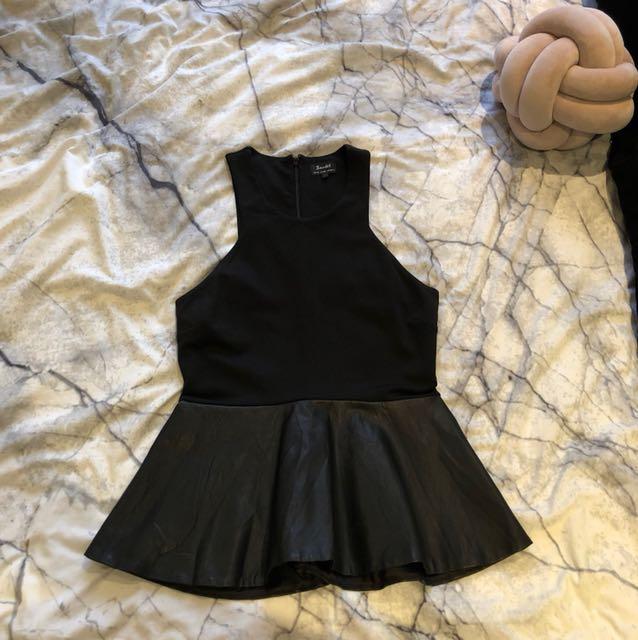 Bardot Peplum Style PU Leather Top
