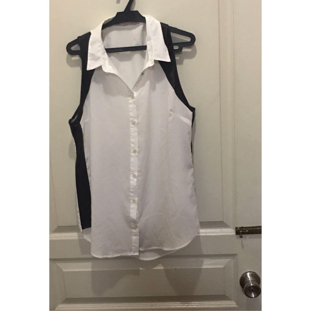 Bershka white sleeveless top