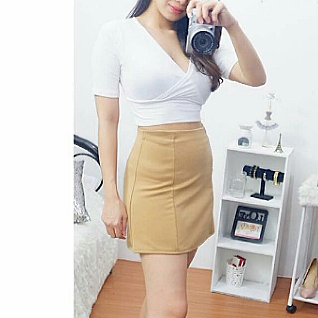 🔥BEST SELLER!🔥 White Cami Crop Top & Khaki A-Line Skirt