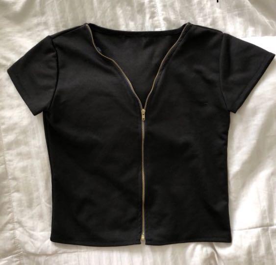 Black Zipper Top