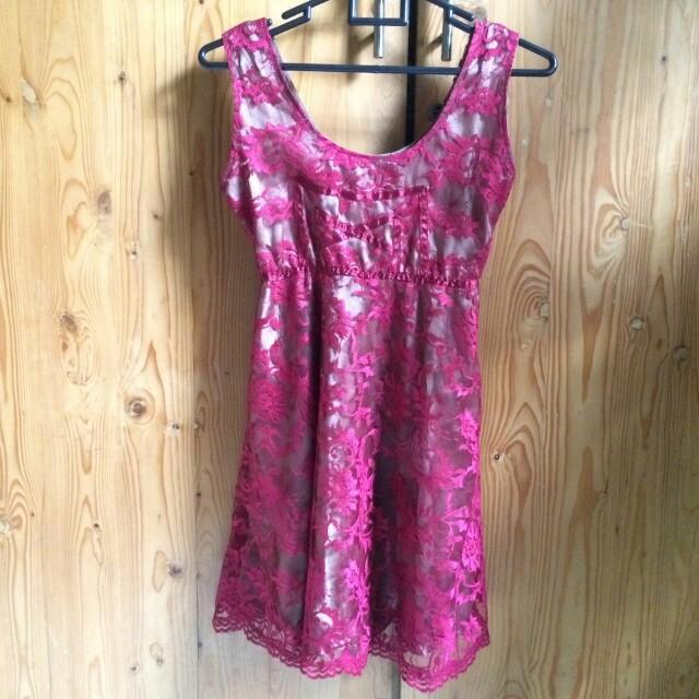 Brokat maroon mini dress