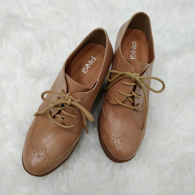 Brown Wedges Shoes with Shoe Lace
