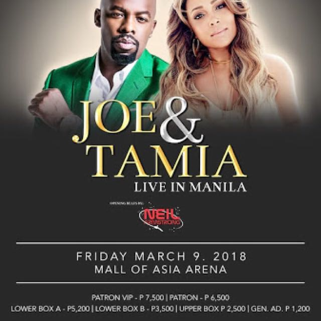 Concert ticket of Joe and Tamia at Moa Arena (2) tickets