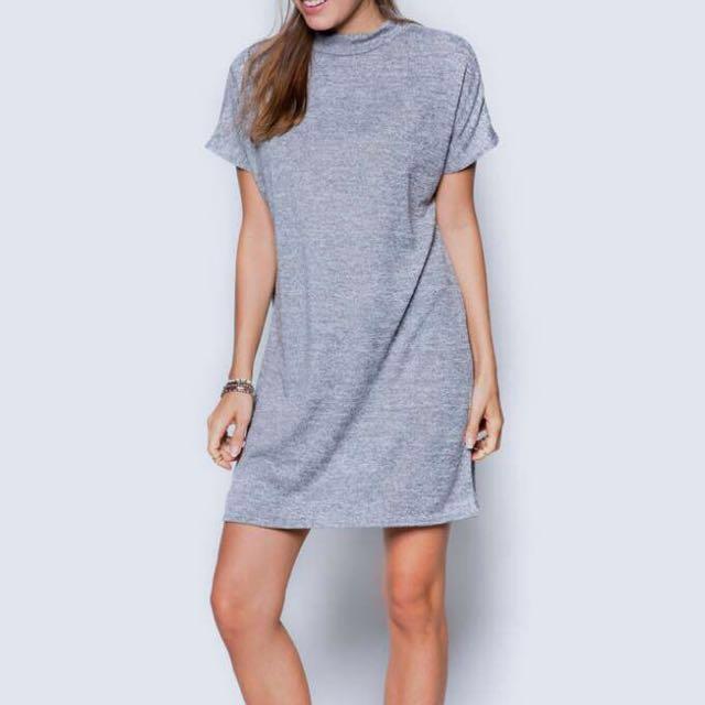 Daisy Streets UK Funnel Neck T-shirt Dress in Grey