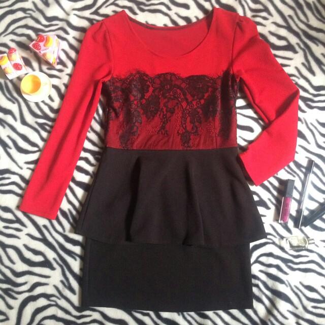 Dress peplum brokat hitam