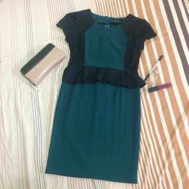 Dress peplum green
