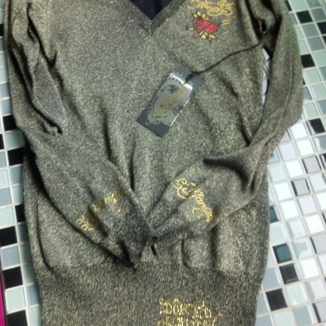 Ed Hardy 黑色金蔥長版針織衫