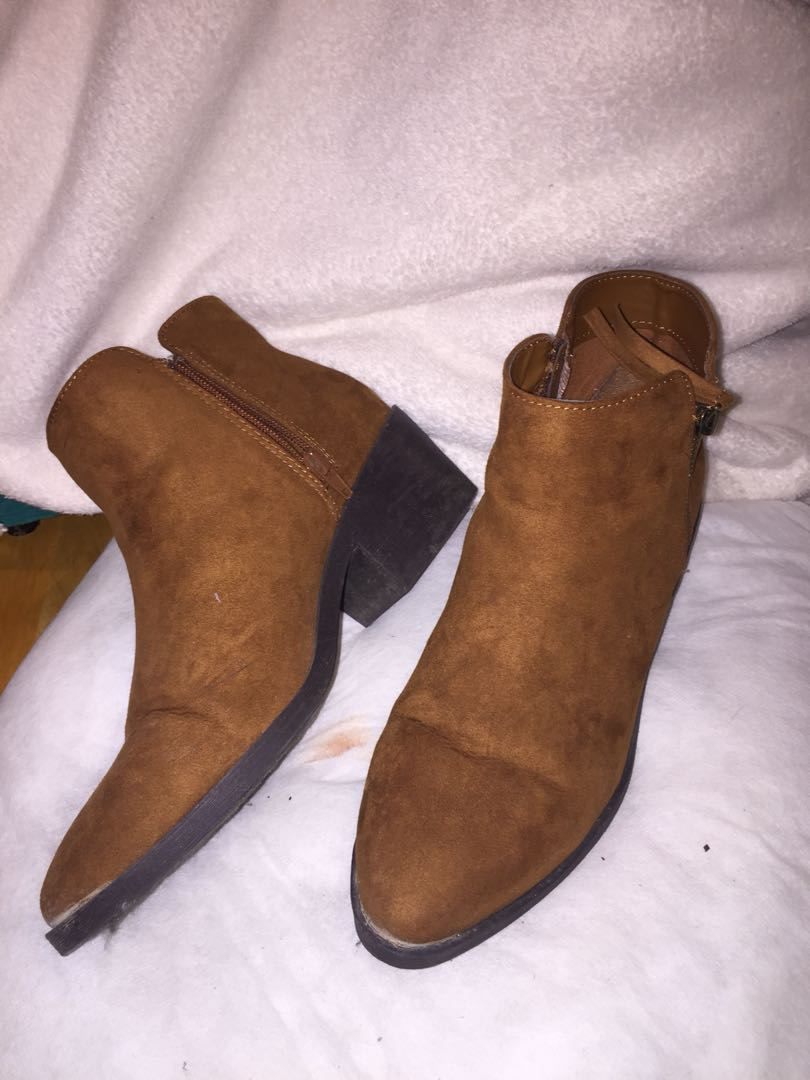 F21 Brown Suede Booties Size 9
