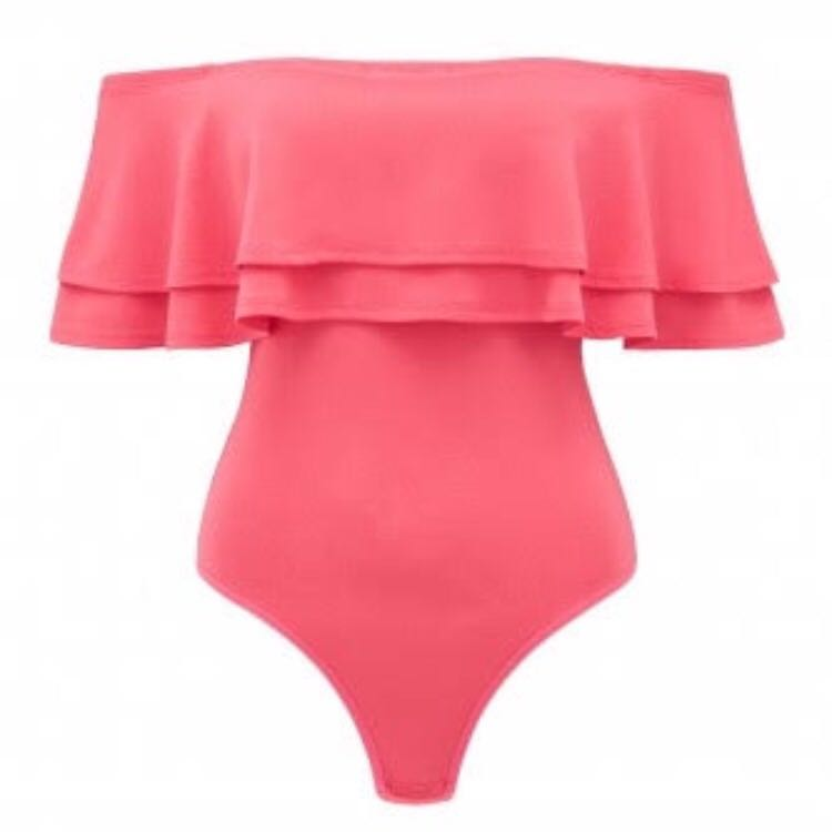 Forever New Pink Double Frill Bodysuit Petite XS 6 8