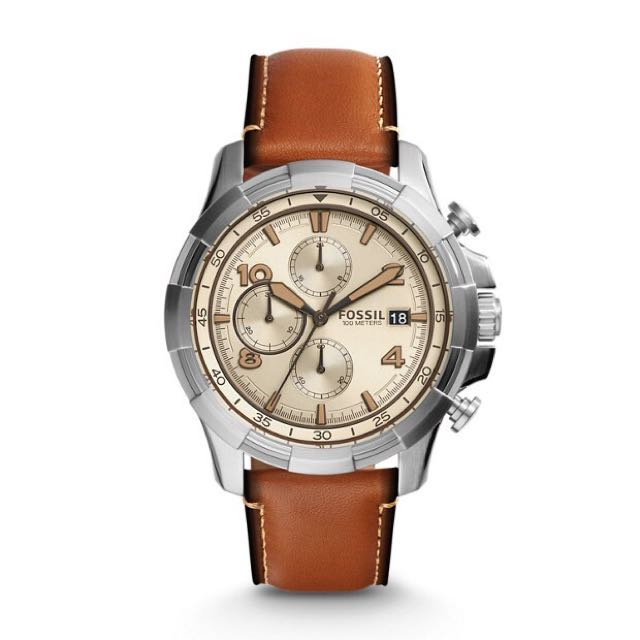 Fossil Dean FS5130 Chronograph Light Brown Leather Watch Men Authentic