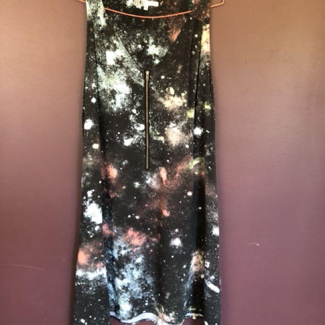 Galaxy printed Volcolm dress