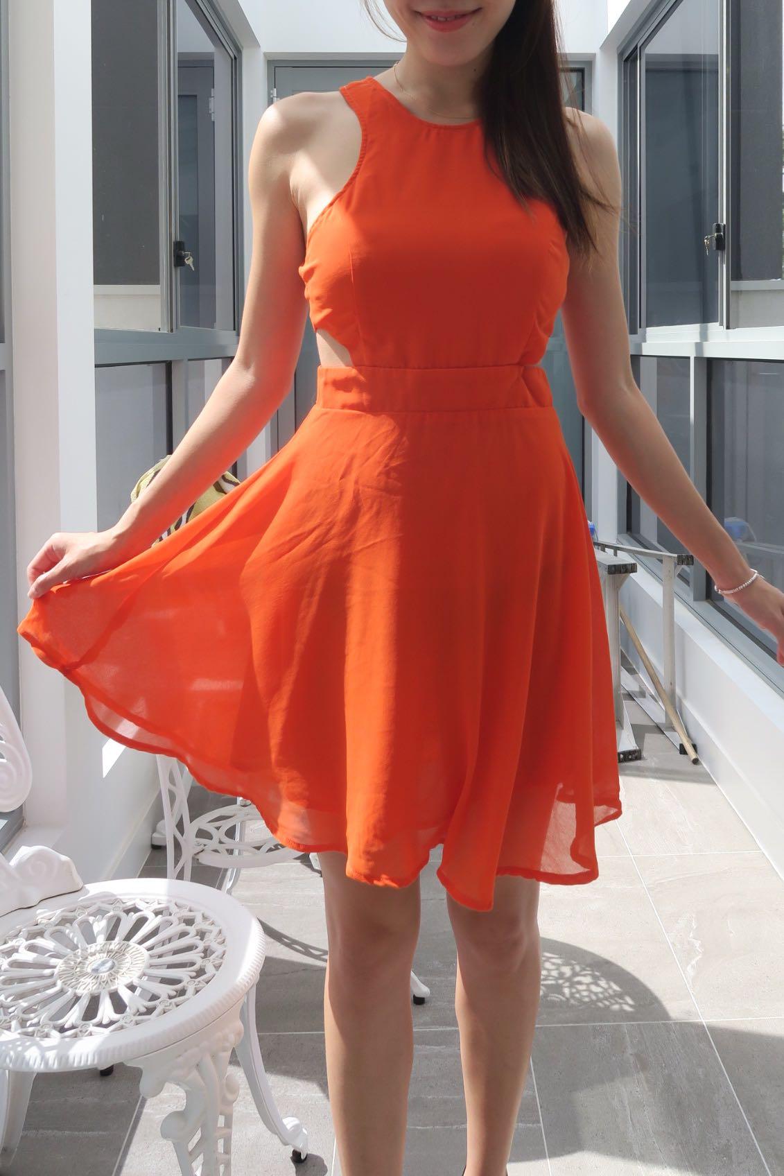GENERAL PANTS Orange Cut Out Skater Dress XS