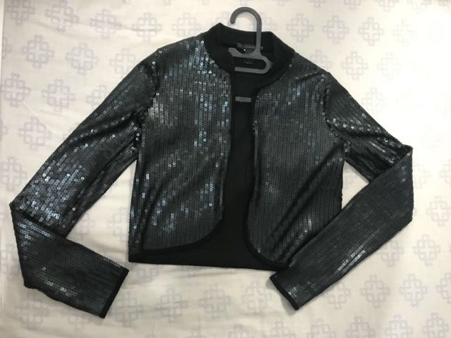 Glitter crop top party outer sequin blazer