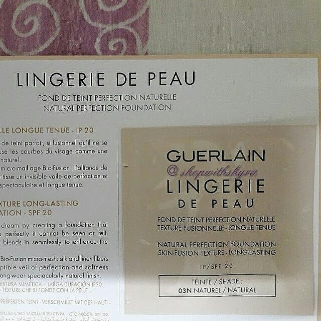 Guerlain Lingerie De Peau natural perfection foundation SPF 20 in 03N Natural sachet sample.