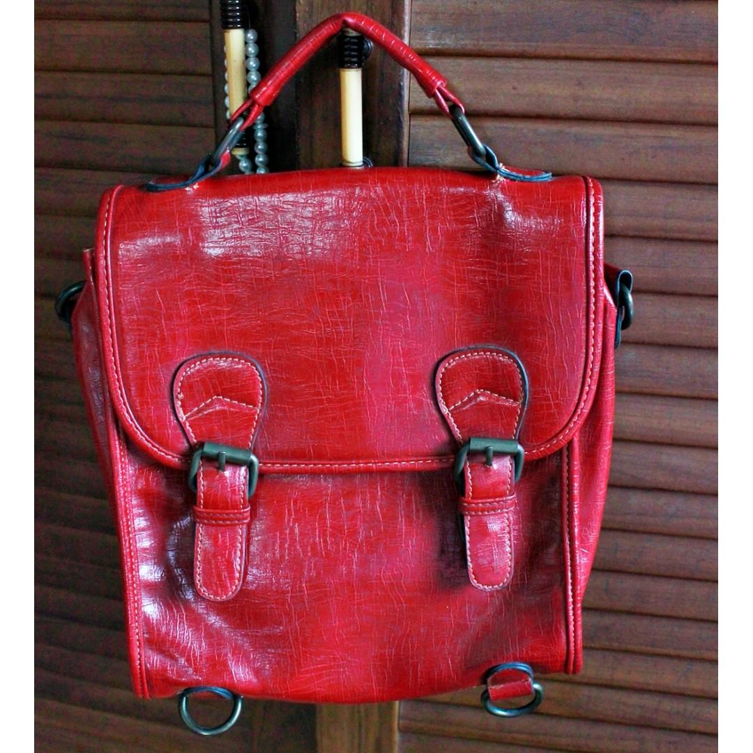 Handbag Red Postman Bag Kulit