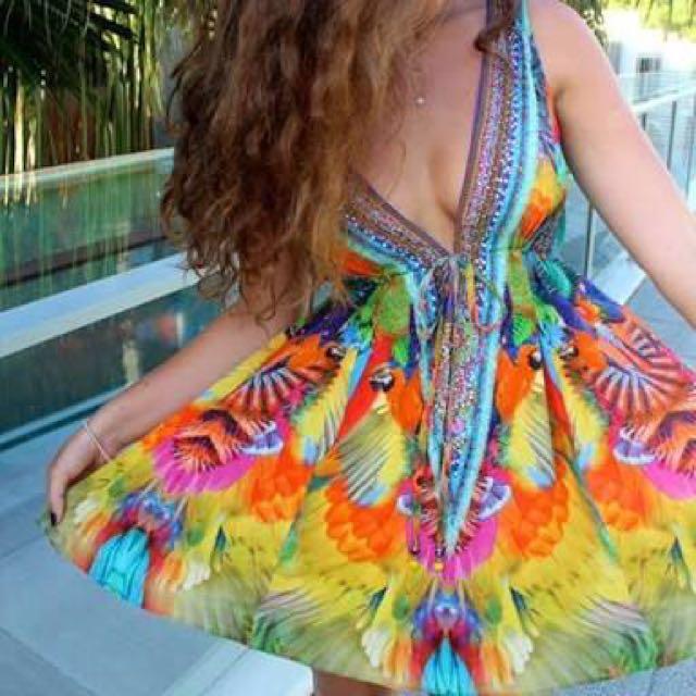 HIRE Camilla Scarlet Asteria small v-neck dress