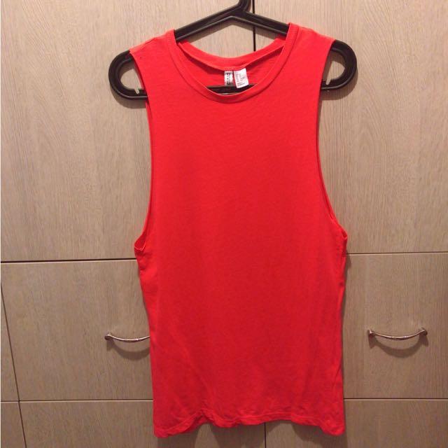H&M 橘紅色 挖肩上衣