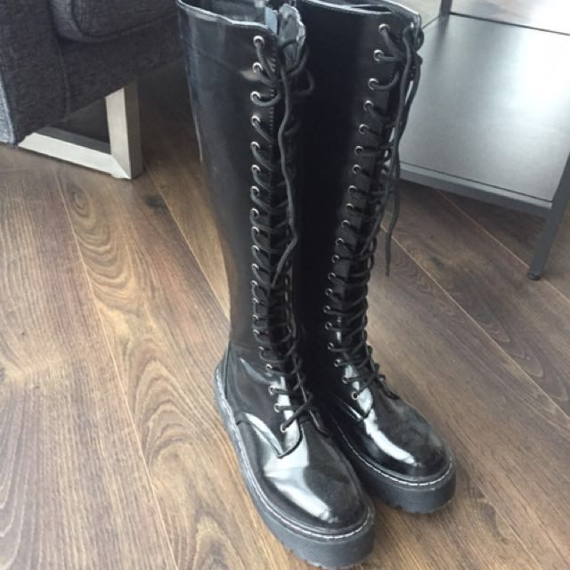 Knee high combat boots size 8-8.5