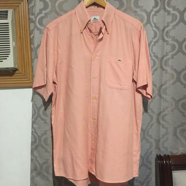 Lacoste pink orange polo