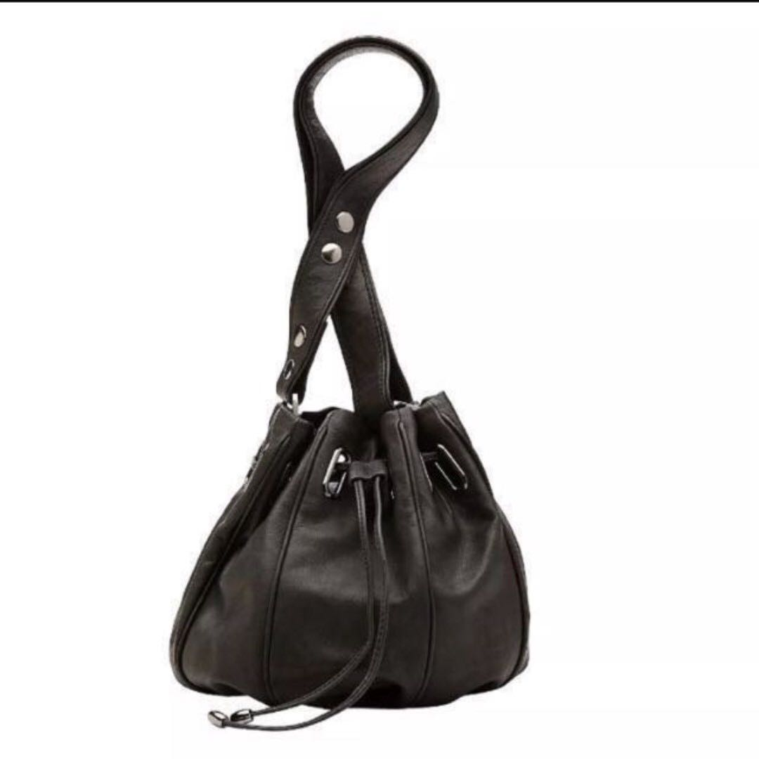 MIMCO Leather Black Bucket Bag
