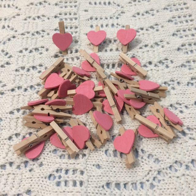 Mini wooden heart clips
