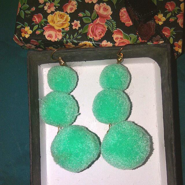 Mint Green Pompom Earring