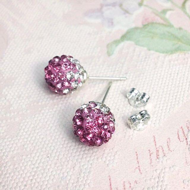 New Pink Rhinestone Earring Set