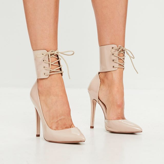 Nude Ankle Lace Up Heels