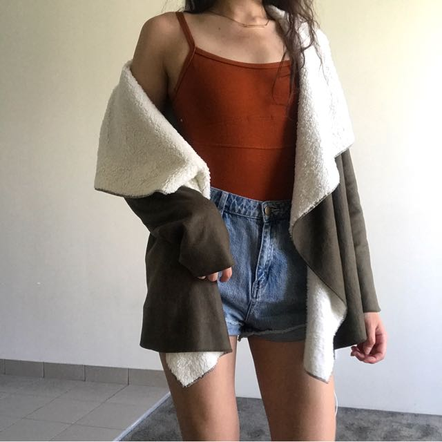 Olive Suede Waterfall Coat
