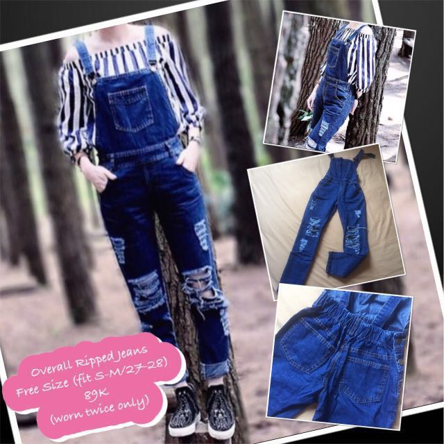 Overall Ripped Jeans (blue jeans)