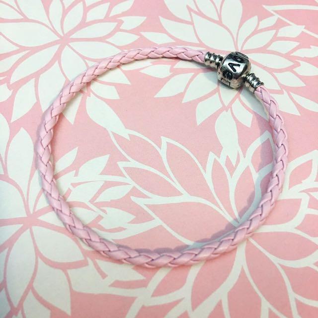 "Pandora Inspired Leather Bracelet 8"" Pink Leather Charm Bracelet"
