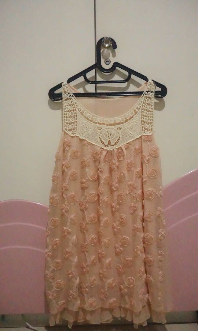 Pink Flower Simple Dress